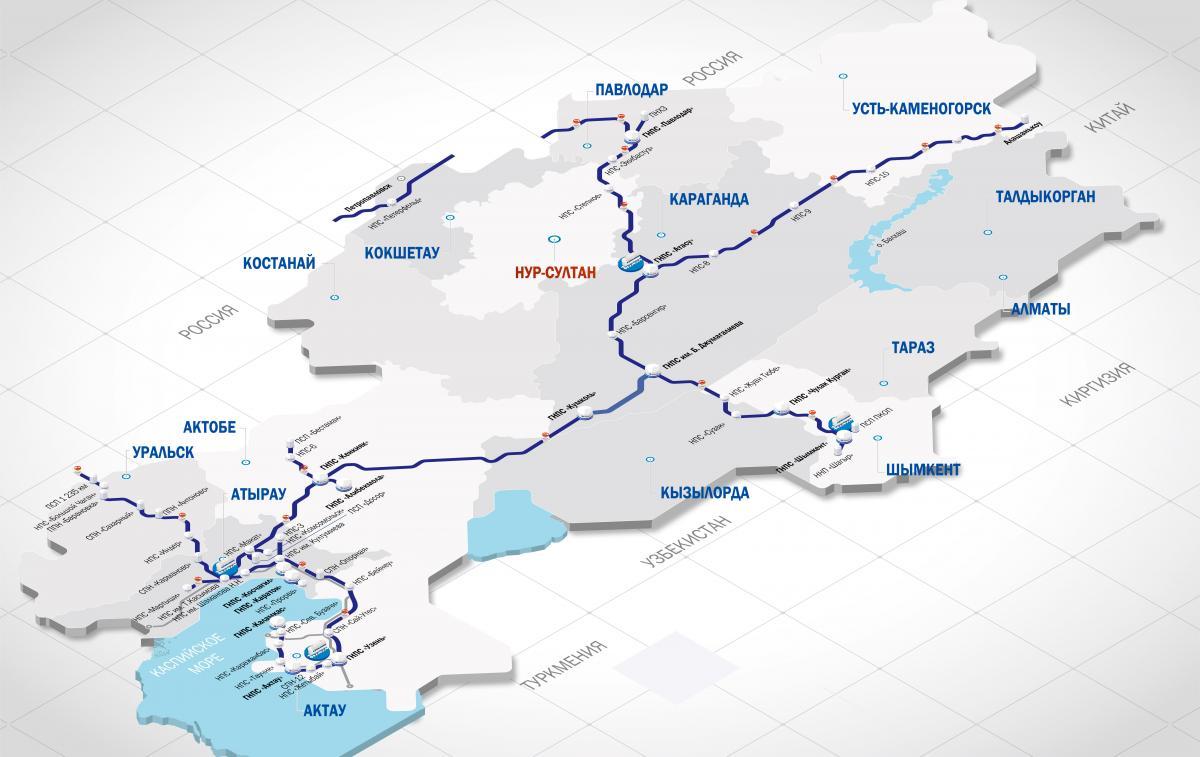 Схема магистральных трубопроводов АО КазТрансОйл